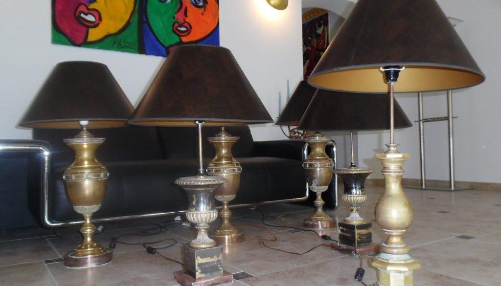 5 Grosse Messing Steh-, Tischlampen