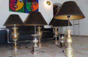 6 Grosse Messing Steh-, Tischlampen