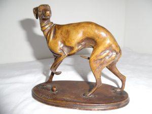 Orig. Bronze Skulptur Wind-Hund, P.J. Mene, Jugendstil, 19. Jhd.
