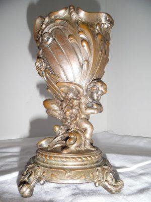 Orig. Jugendstil Art Deco Bronze Engel Putte, Vase, Kelch, Schale