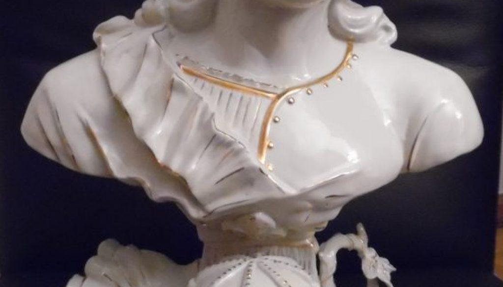 Große weiß goldene Porzellan Büste, Skulptur, Figur,Barock