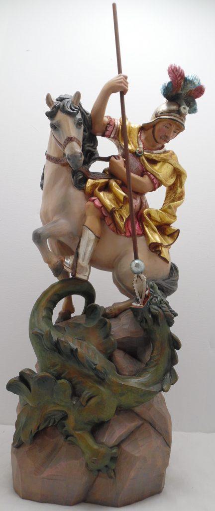 Geschnitzte Holzfigur Skulptur Heiliger Georg Drachentöter