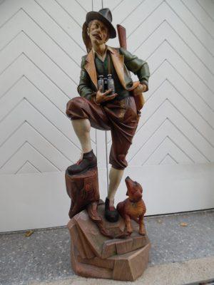 Holzfigur, 1m, Meisterstück, Jäger mit Dackel, handgeschnitzt