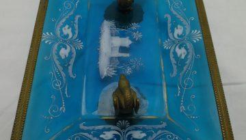 Glasschale hellblau, Schwäne, Bronz-, Messingabl. Malerei 19Jhd.